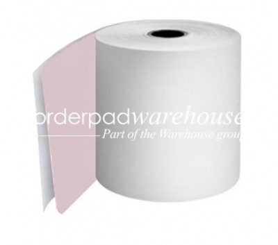 76mm 2Ply Carbonless Paper Rolls White/Pink Boxed 20s - 055