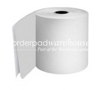 70 x 70 x 12.7mm Core 2Ply Carbonless Paper Rolls White/White Boxed 20s - 053