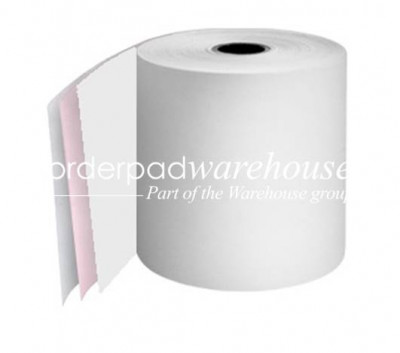 57 x 57 x 12.7mm Core 3Ply Carbonless Paper Rolls White/Pink/White  Boxed 20s - 061